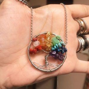 Rainbow chakra pride tree of life boho necklace